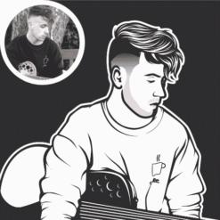 karikatur portrait porträt von foto zeichnen lassen schwarz weiß minimalistisch
