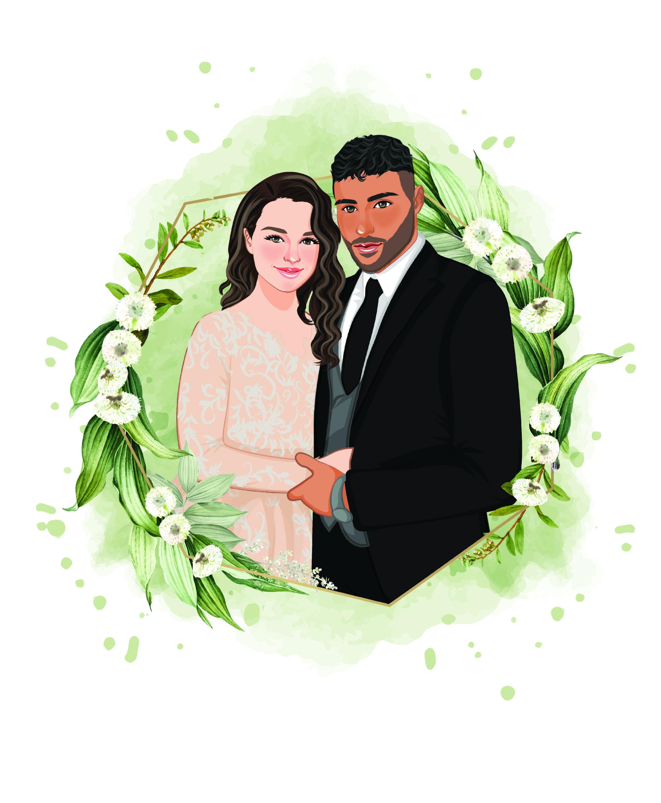 couple portrait karikatur