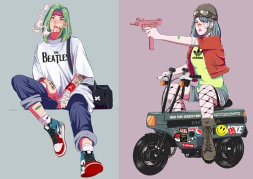 cyberpunk retro illustration zeichnen lassen